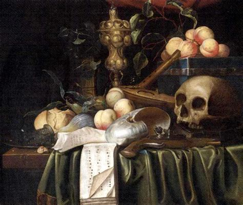 Tableau De Vanité by A Vanitas Still With A Skull A Pistol A Lute With