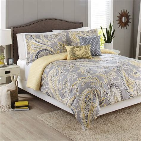 Grey And Yellow Bed Sets Better Homes And Gardens 5 Bedding Comforter Set Yellow Grey Paisley Walmart