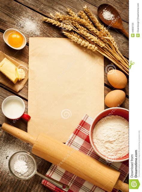 Kitchen Utensils Design by Rural Kitchen Baking Cake Ingredients And Blank Paper