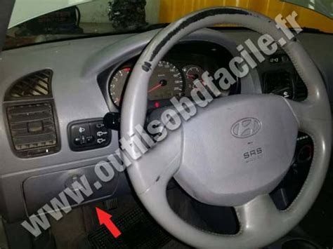 on board diagnostic system 2010 hyundai tucson instrument cluster obd2 connector location in hyundai accent 1995 1999 outils obd facile