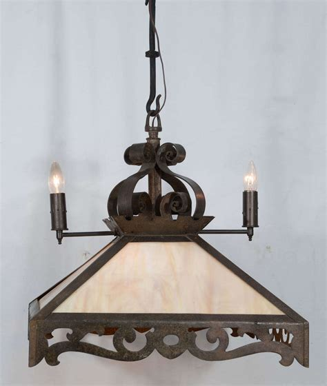 Slag Glass Chandelier Combination Rustic Gas And Electric Slag Glass Chandelier
