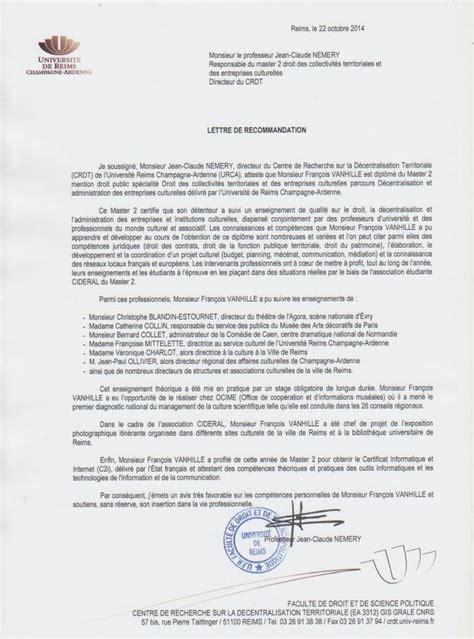 Lettre De Recommandation Employeur Pour Master Lettre De Recommandation Crdt Master 2 Droit Collectivit 233 S Territoria