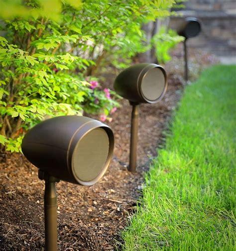 Outdoor Patio Speaker System by Control4 Debuts Triad Garden Array Outdoor Speakers