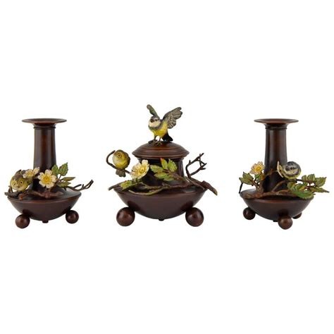 Antique Bronze Desk L by Antique Cold Painted Vienna Bronze Desk Set With Birds Inkwell And 2 Vases 1900 For Sale At 1stdibs