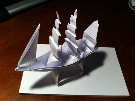 How To Make A Paper Pirate Ship - 149 the black pearl in a bottle setting the crease