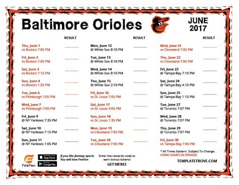 Orioles Giveaways 2017 - printable 2017 baltimore orioles schedule