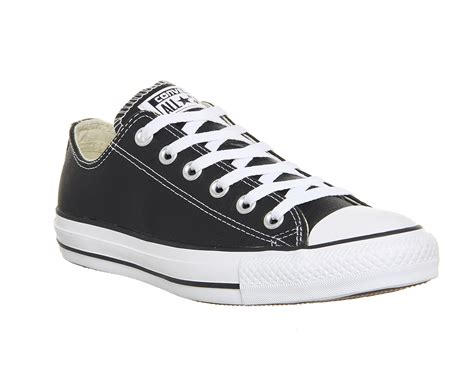 Converse Sport Black converse all low leather black white leather unisex