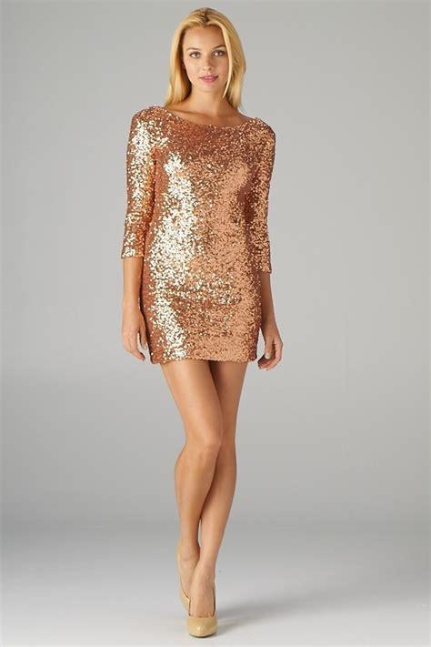Gold Dresses Make Holidays Nicer by Half Sleeve Gold Sequined Dress Gold