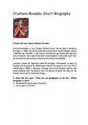 cristiano ronaldo biography book in english english teaching worksheets cristiano ronaldo