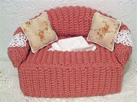 sofa tissue box cover pattern crocheted sofa tissue box cover with pillows and doilies
