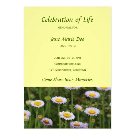 celebration of templates memorial celebration of flowers personalized