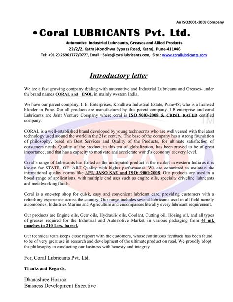 business introduction letter introductory letter coral 1110