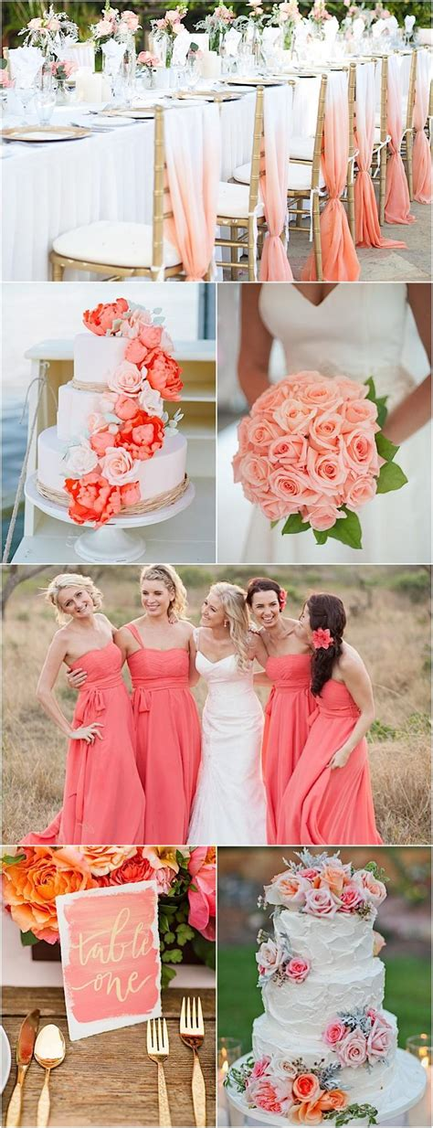 color inspiration perfect coral  gold wedding ideas