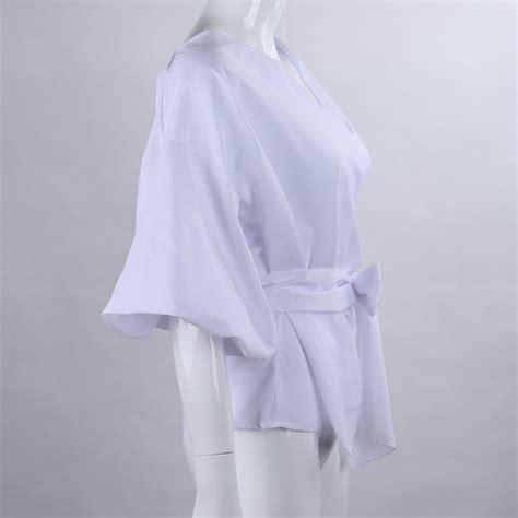 Blouse Ab 020 criss cross belted bow puff sleeve v neck white blue striped bandage top blouse