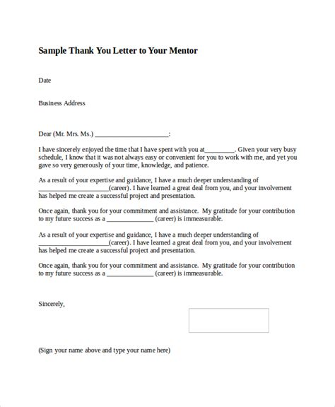 Business Letter Format Thank You Note Sle Thank You Letter Format 8 Exles In Word Pdf