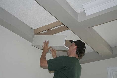 How To Install Wainscoting On Ceiling by Beamed Ceiling Shown At Different Stages Of