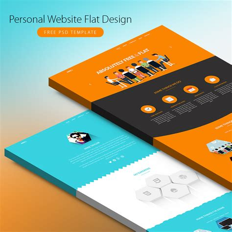 personal website flat design free psd template download