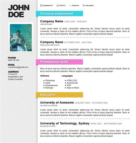 Html Resume Template by Html Resume Templates