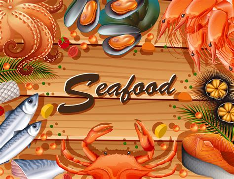 types  seafood  board   vector