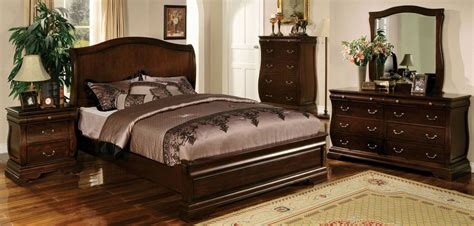 Bedroom Furniture Walnut Esperia Walnut Bedroom Set From Furniture Of America Cm7503q Bed Coleman Furniture