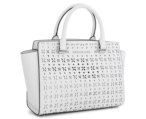 Michael Kors Flower Selma Sz 26x20x19cm michael kors selma floral perforated medium leather satchel white silver great daily deals