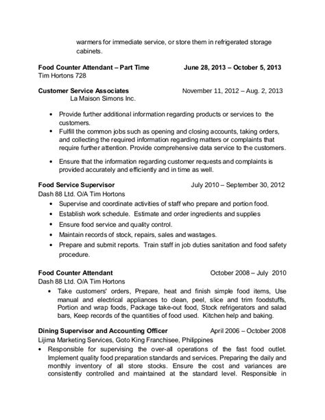 tim hortons resume exle sle resume for customer service tim hortons resume