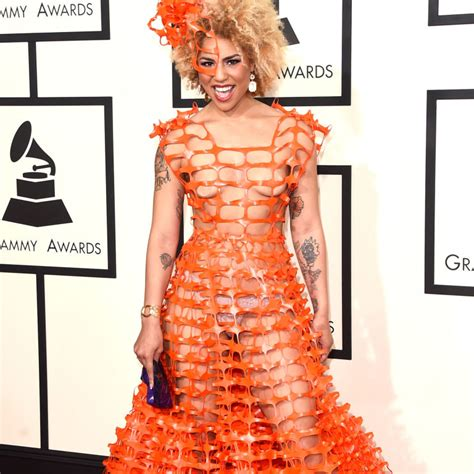 Cosmo Square Dress someone wore that orange mesh plastic fencing to the grammys