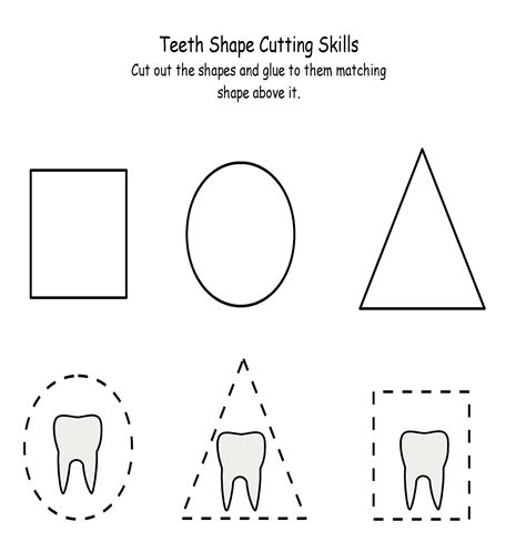 teeth printables for preschool and kindergarten mamas terrrific teeth shape cutting click image to close