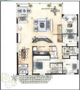 hand rendered floor plan plan peter strong interior design