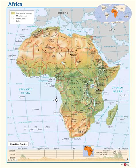 africa map features africa physical wall map maps