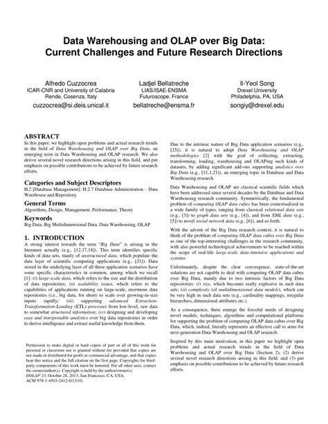 data warehouse research paper pdf data warehousing and olap big data pdf