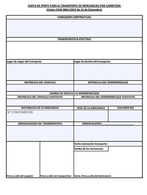 ejemplo de carta porte documentos transportes asesor 237 a p 233 rez tarracogest