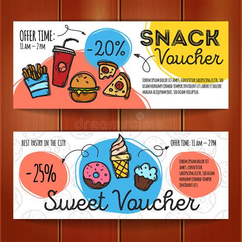 coupon cards template vector set of discount coupons for fast food and desserts