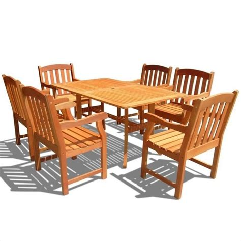 Atlantic 7 Piece Wood Patio Dining Set V187set27 Wooden Patio Dining Set