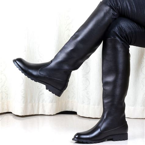 mens leather knee high boots boots leather shoes picture more detailed picture about