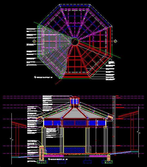 gazebo dwg cad drawing detailed summer gazebo pavilion 1