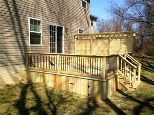 Pressure Treated Pergola by Pressure Treated Deck With Privacy Wall In Lancaster Pa