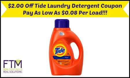 printable tide he detergent coupons new 2 00 off tide detergent coupon pay as low as 0 08