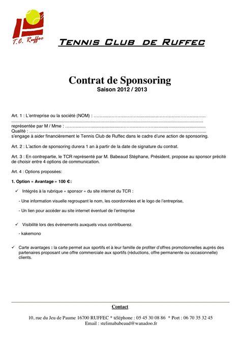 Modèles De Lettres De Sponsoring Tennis Club De Ruffec Partenaires Contrat Sponsoring