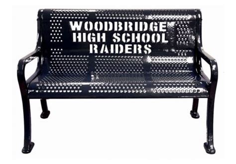 logo bench custom perforated logo bench commercial site furnishings