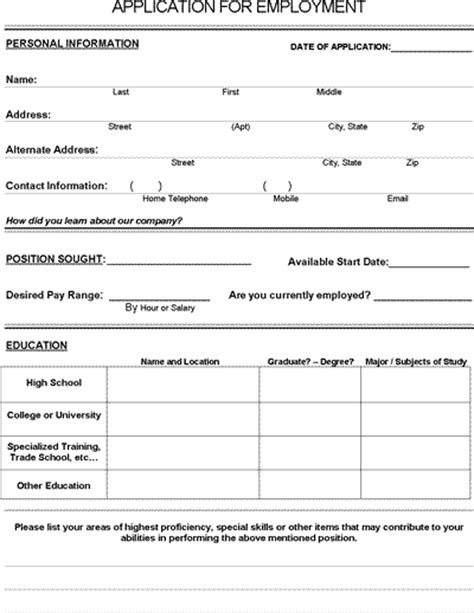 Job Application Form Pdf Download For Employers Free Employment Application Template Florida