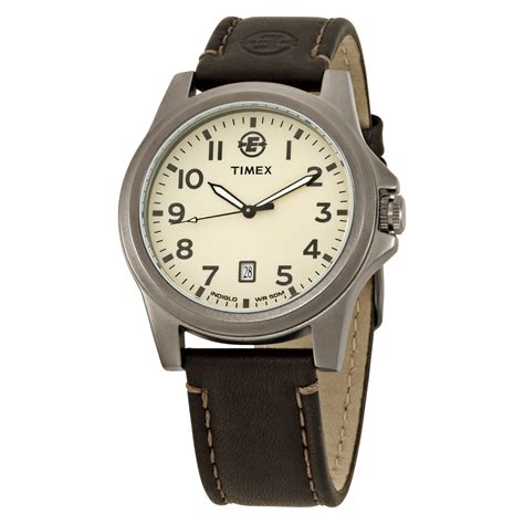 Expedition 6629 Silver Black Leather Original timex 174 s expedition 174 metal field analog brown leather t46191 ebay