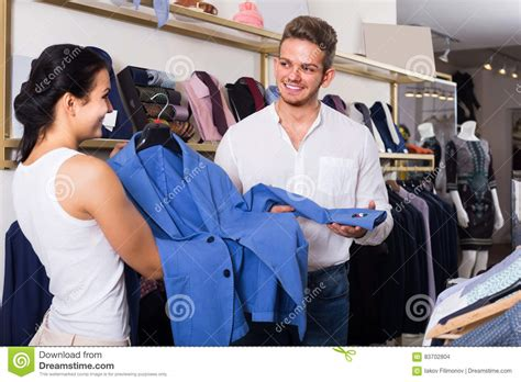 Couples Clothing Store Purchasing Jacket For Stock Photo Image 83702804