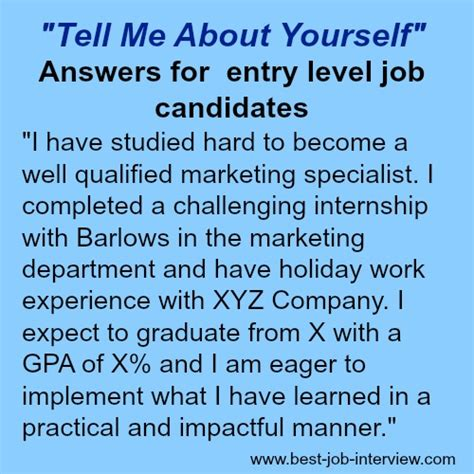 Tell Me About Yourself Mba Graduate by Tell Me About Yourself The Right Answer