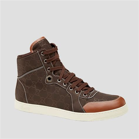 mens high top shoes gucci mens shoes brown guccissima high top sneakers