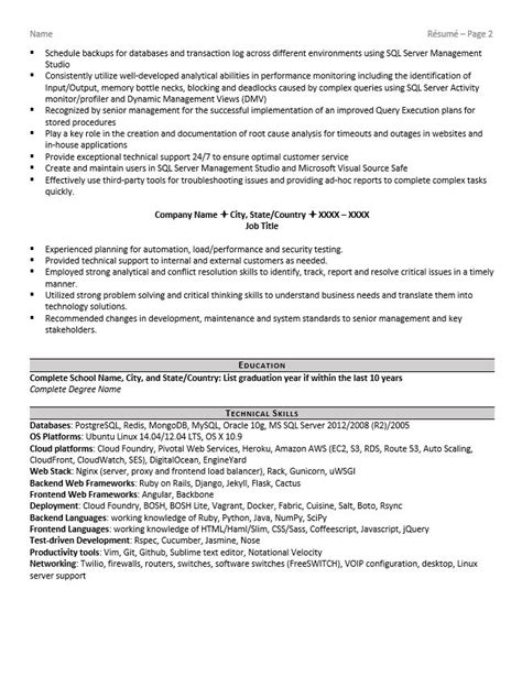 Resume Sles Database Administrator Database Administrator Resume Exle And Tips Zipjob