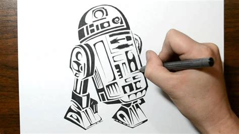 star wars tribal tattoo drawing wars r2d2 in a tribal design style