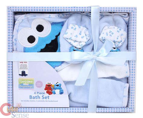 sesame street bathroom set sesame street cookie monster baby bath set 4pc blue boy ebay