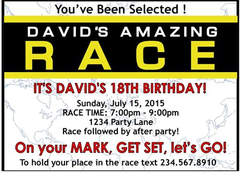 amazing race party supplies and invitations