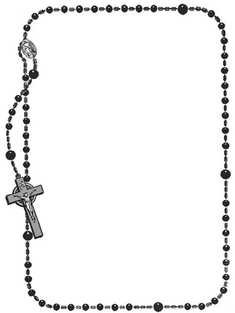 Rosary Borders Clip Art Frame Coloring Pages Clipart